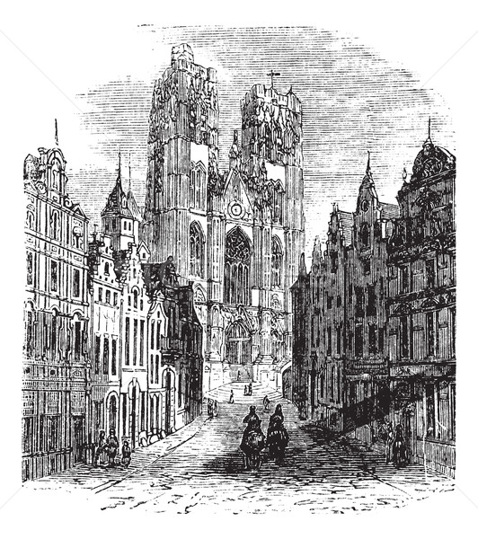 The Church Saint-Gudula of Brussels, Belgium. Vintage engraving. Stock photo © Morphart