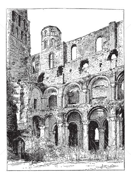 Zdjęcia stock: Ruiny · opactwo · vintage · wyryty · ilustracja