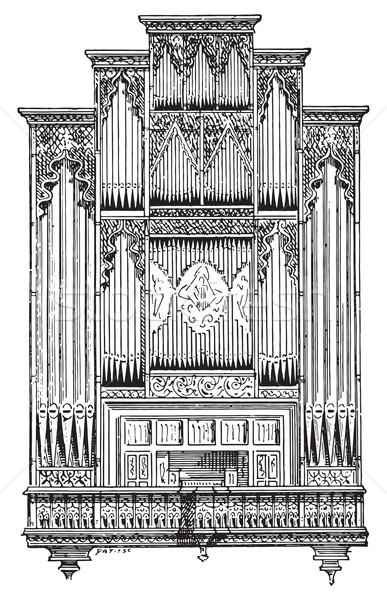 Organ of Perpignan Cathedral, vintage engraving. Stock photo © Morphart