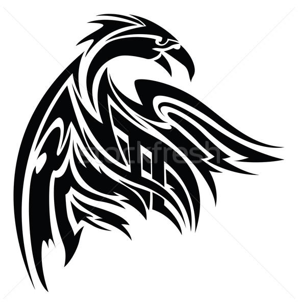 Stockfoto: Phoenix · tattoo · vintage · ontwerp · gegraveerd