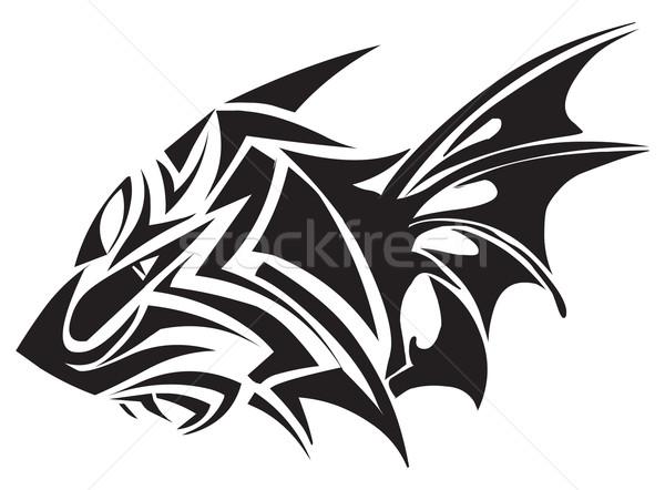Stock photo: Tattoo design of tiger, vintage engraving.