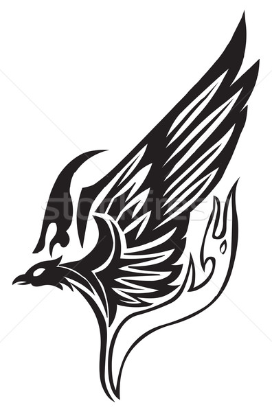 Stock photo: Tattoo design of flying phoenix, vintage engraved illustration.