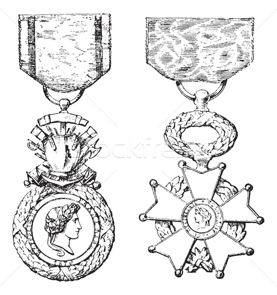 Military Medal, Cross of the Legion of Honor, vintage engraving Stock photo © Morphart