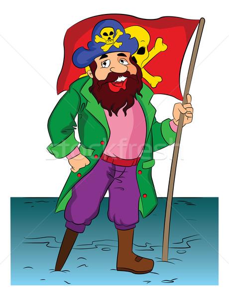 Kalóz tart zászló illusztráció szakállas férfi Stock fotó © Morphart