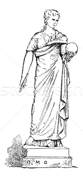 Stock photo: Statue of Urania, Muse of Astronomy, vintage engraving