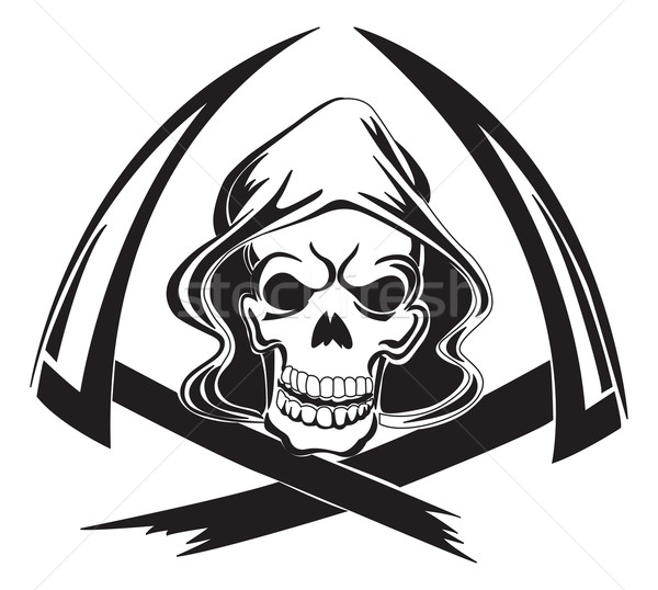 Tattoo design of a grim reaper with scythe, vintage engraving. Stock photo © Morphart