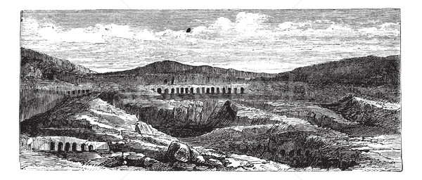 Catacombs or Ossuary,Thebes, Egypt vintage engraving Stock photo © Morphart