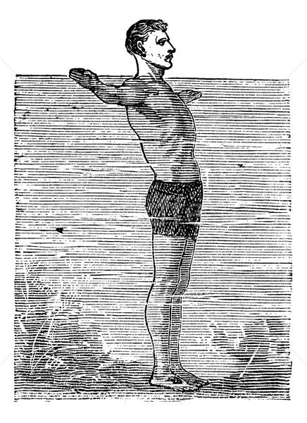 Derde positie vintage gegraveerd illustratie encyclopedie Stockfoto © Morphart