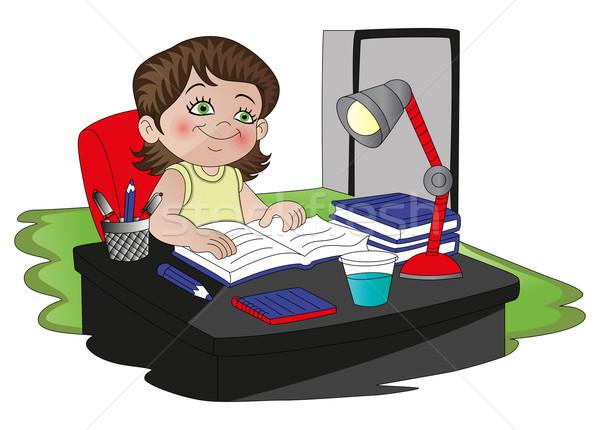 Vecteur fille étudier lecture livre eau Photo stock © Morphart