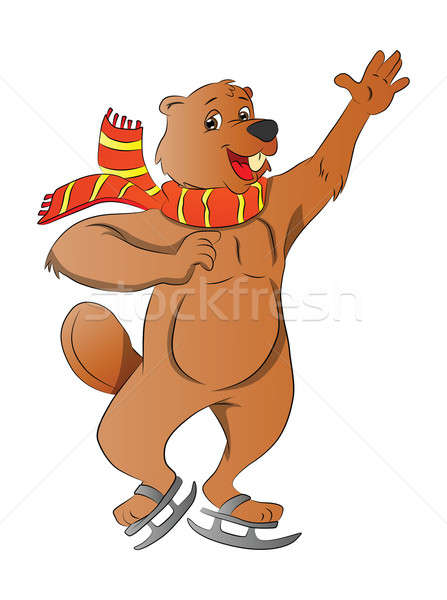 Beaver Ice Skating, illustration Stock photo © Morphart