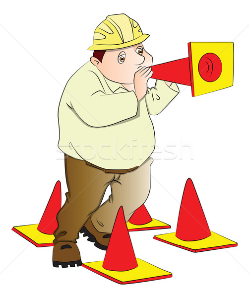 Vector of engineer blowing construction cone. Stock photo © Morphart