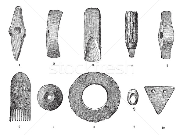 Age lake, various objects from lake stations, vintage engraving. Stock photo © Morphart