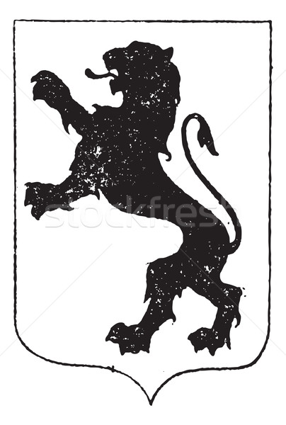 Standaing Lion in Coat of Arms, vintage engraving Stock photo © Morphart