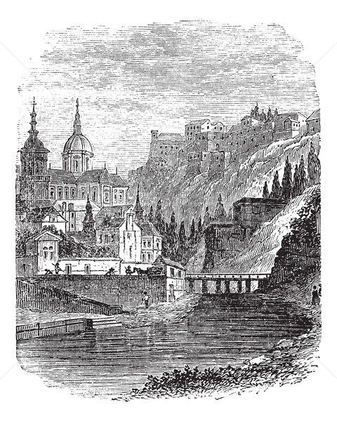Namur in Wallonia, Belgium, vintage engraved illustration Stock photo © Morphart