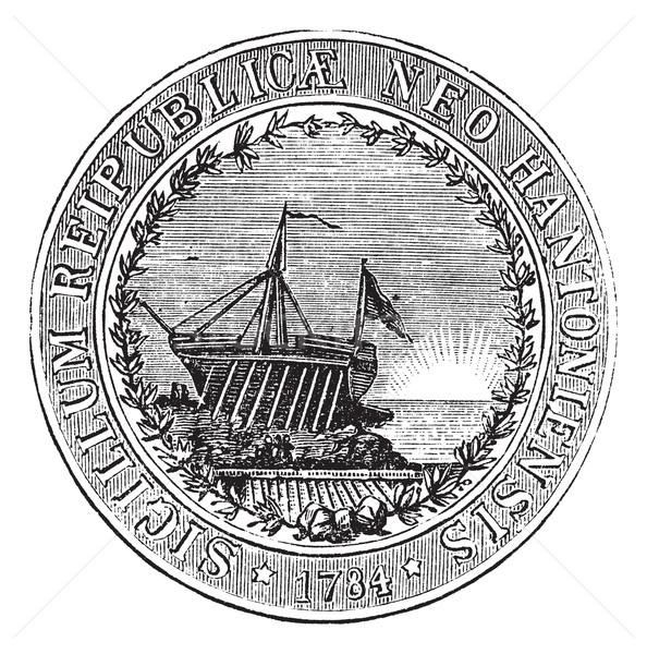 Fóka New Hampshire klasszikus gravírozott illusztráció lexikon Stock fotó © Morphart
