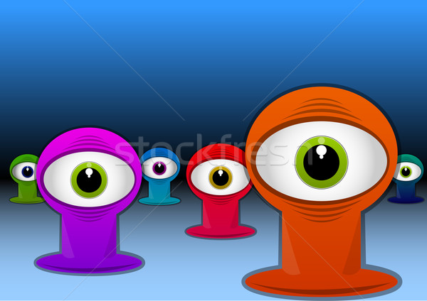 Colorful One-eyed Creatures, illustration Stock photo © Morphart