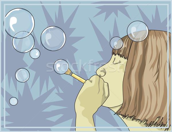 Lány buborékfújás illusztráció fény jókedv női Stock fotó © Morphart