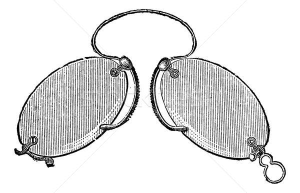 Glasses - a nose clip claws, vintage engraving. Stock photo © Morphart