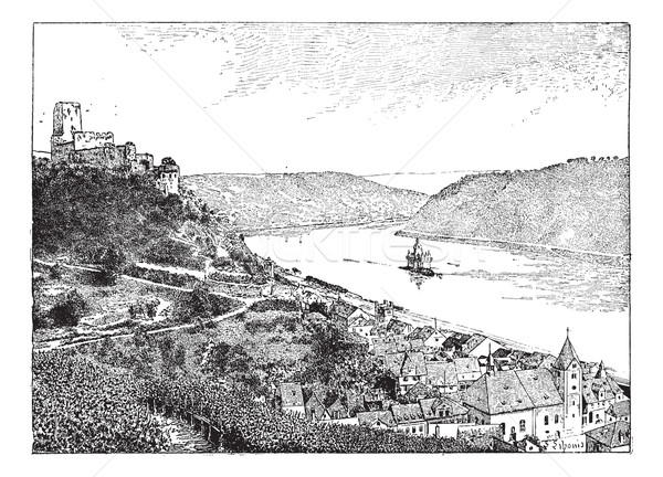 Burg Gutenfels, Rhin river, Germany, vintage engraving. Stock photo © Morphart