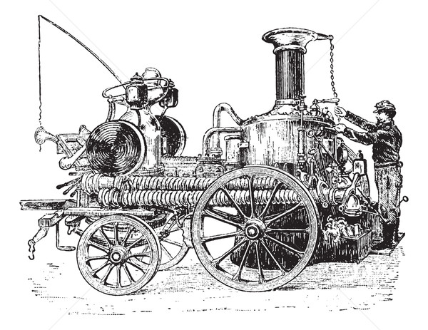Steam pump on carriage vintage engraving Stock photo © Morphart