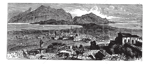 Acrocorinth in Corinth, Greece, vintage engraving Stock photo © Morphart