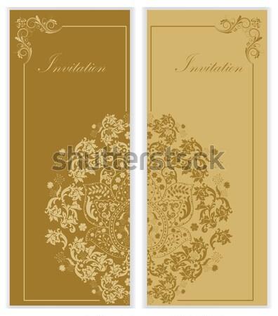 Szett kettő klasszikus meghívó kártyák díszes Stock fotó © Morphart