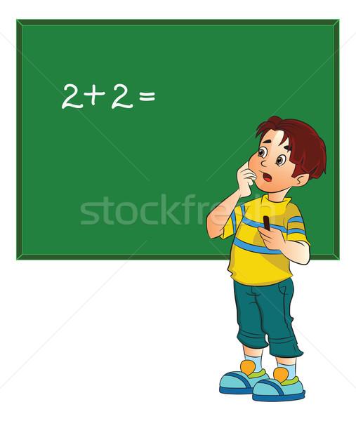 Boy Solving a Math Problem, illustration Stock photo © Morphart