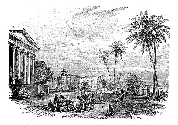 Barrackpore or Barrackpur, in West Bengal, India, vintage engrav Stock photo © Morphart
