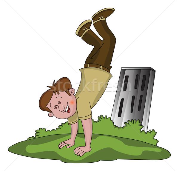 Vector of happy boy doing handstand. Stock photo © Morphart