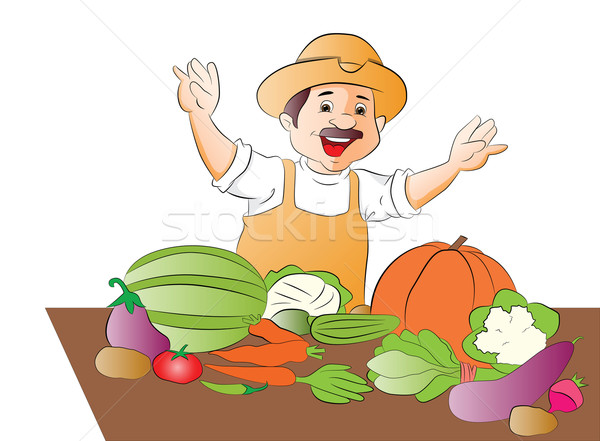 Vector of happy vegetable seller. Stock photo © Morphart