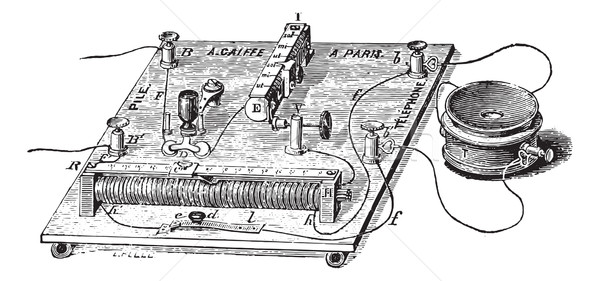 Audiometer of Baratoux, search for auditory acuity, vintage engr Stock photo © Morphart