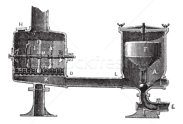 Cutting devices receptor and spillway, vintage engraving. Stock photo © Morphart