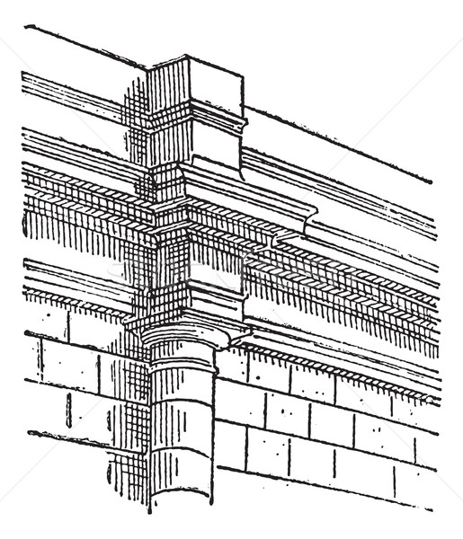 Pilaster, a projecting column, vintage engraving. Stock photo © Morphart