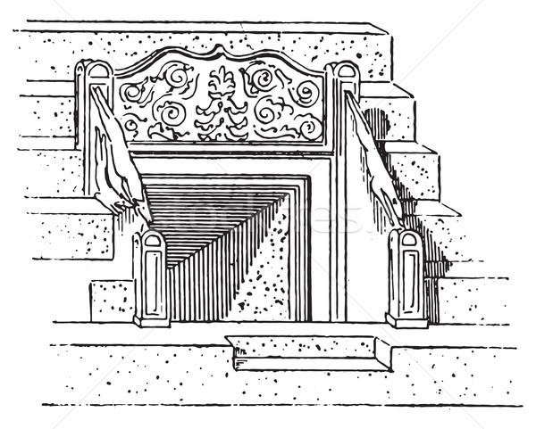 ストックフォト: ヴィンテージ · 彫刻 · 刻ま · 実例 · 辞書 · 単語