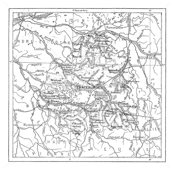 Map of Department of Indre vintage engraving Stock photo © Morphart