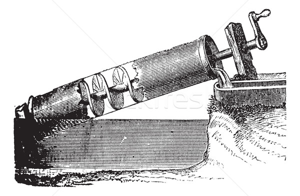 Archimedes screw vintage engraving Stock photo © Morphart