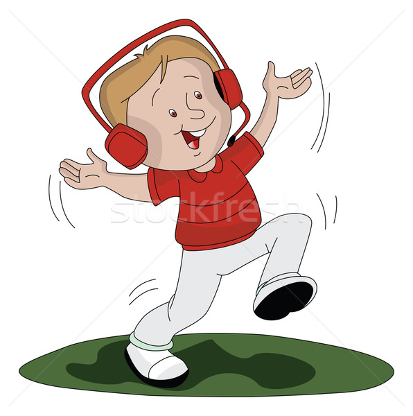 Vector of boy listening music and dancing. Stock photo © Morphart