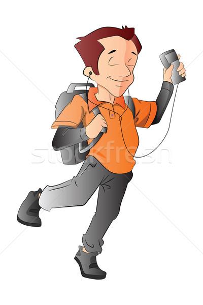 Homem mochila music player ilustração soar branco Foto stock © Morphart