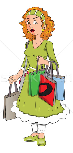 Vector of woman carrying shopping bags. Stock photo © Morphart