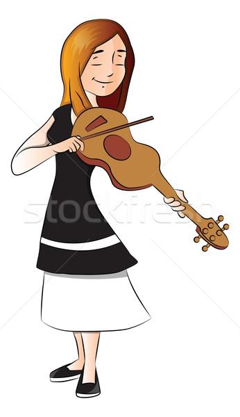 ベクトル 女性 バイオリン 若い女性 演奏 若者 ストックフォト © Morphart