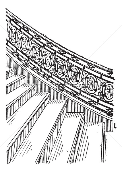 Stone Staircase made of Silt, vintage engraving Stock photo © Morphart