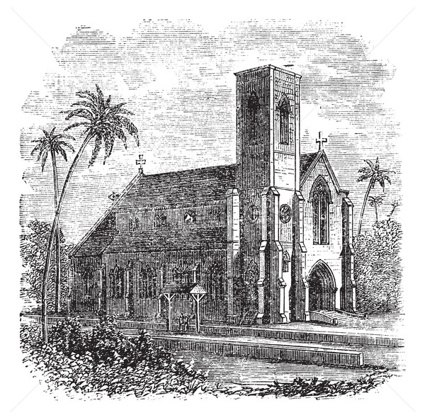 Saint Lucia Cathedral, in Colombo, Sri Lanka, vintage engraving Stock photo © Morphart
