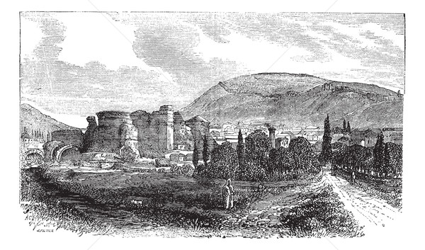 The ruins of Pergamon or Pergamum in Turkey vintage engraving Stock photo © Morphart