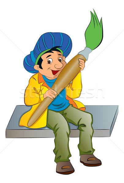 画家 巨人 絵筆 実例 男性 ストックフォト © Morphart