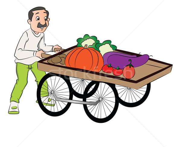Vector of vendor pushing vegetable cart. Stock photo © Morphart
