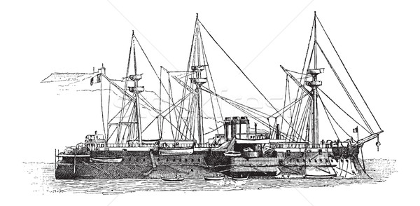 The Courbet, French Iron-clad Battleship, vintage engraving Stock photo © Morphart