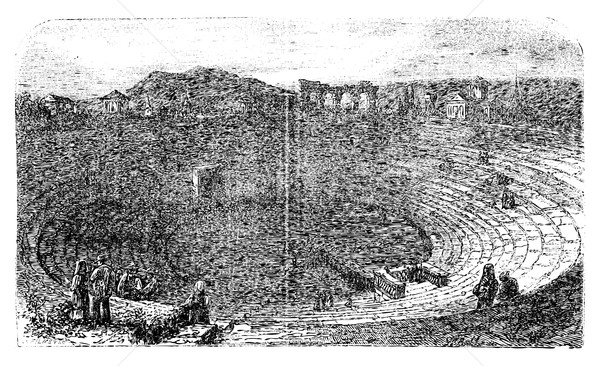 Verona Arena in 1890, in Verona, Italy. Vintage engraving. Stock photo © Morphart