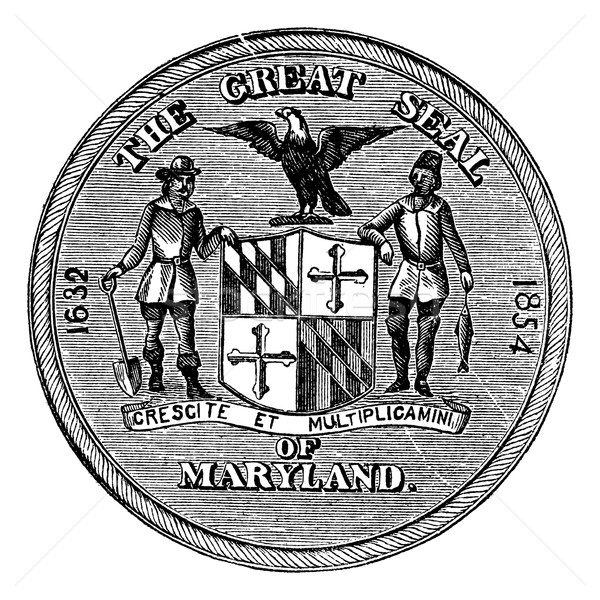Great Seal of the State of Maryland, United States, vintage engr Stock photo © Morphart