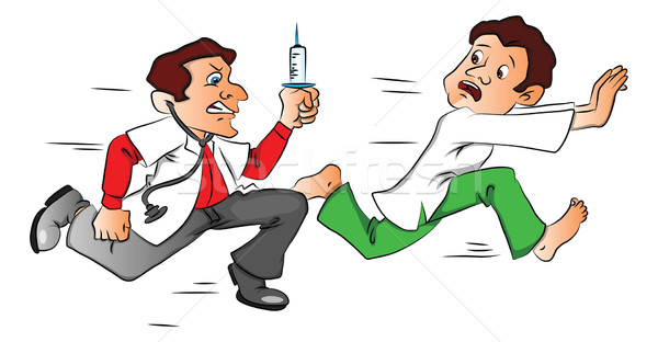 Vector of male patient escaping from the doctor with a syringe. Stock photo © Morphart