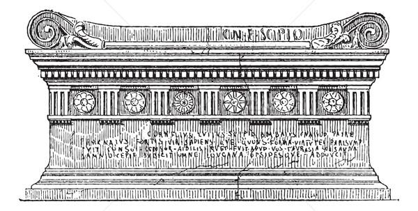 Túmulo vintage gravado ilustração dicionário Foto stock © Morphart